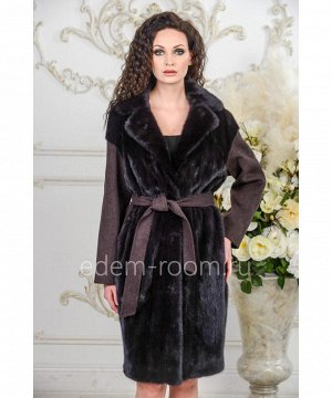 Шерстяное пальто с мехом норкиАртикул: A-17240-100-KR-N