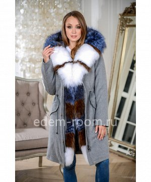 Пальто - парка на кашемире с мехомАртикул: W-539-95-SR-P