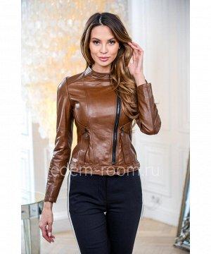 Коричневая укороченная куртка из натуральной кожиАртикул: NS-8180-55-KR