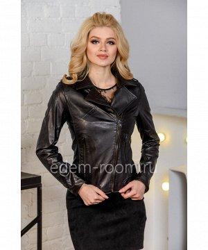 Повседневная женская куртка из натуральной кожи черного цветаАртикул: LN-1808-60
