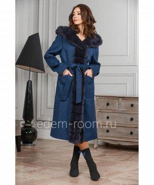 Шерстяное пальто с меховым капюшономАртикул: A-1822-2-110-SN-N