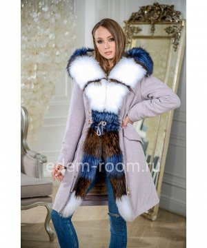 Парка - пальто с комбинированным мехомАртикул: W-539-95-P-P