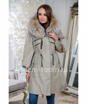 Парка -пальто с мехом енотаАртикул: V-1903-90-OL-EN