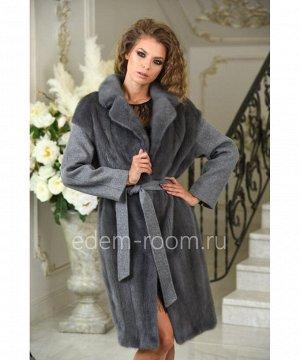 Шерстяное пальто демисезонное из норки и шерсти альпакиАртикул: A-17240-100-SR-N