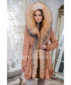 Модная парка с мехом аукционной лисыАртикул: V-19015-90-KM-L
