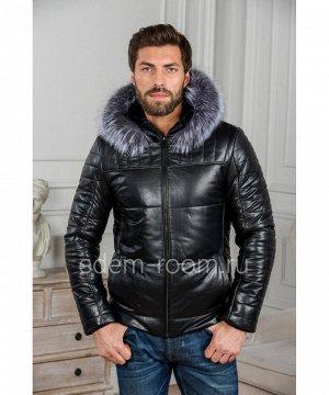 Мужская кожаная куртка с капюшоном и мехомАртикул: C-8202-2-CH