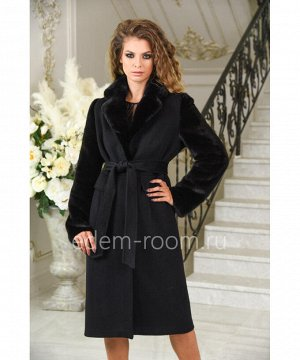 Чёрное шерстяное пальто с рукавами из норки на весну и осеньАртикул: A-2100-110-CH-N