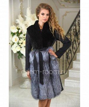 Чёрное пальто с мехом норки и чернобурки. Осень - веснаАртикул: A-18369-100-CH-CH