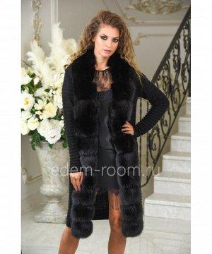 Чёрное вязаное трикотажное пальто с мехом песца на весну и осеньАртикул: M-165-110-CH