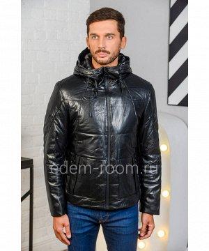Кожаная куртка на утеплителеАртикул: W-8006-2