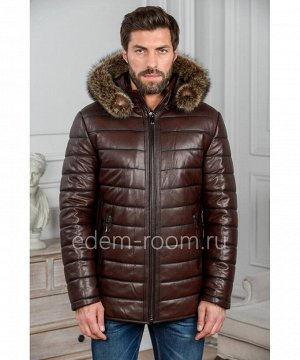 Коричневая мужская куртка из кожиАртикул: IG-1853-2-K-EN