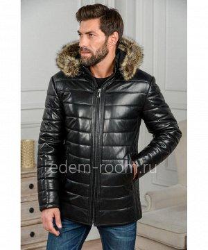 Кожаная куртка для зимы с капюшономАртикул: IG-1853-2-EN