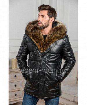 Зимняя мужская кожаная куртка с меховым капюшономАртикул: IG-8828-2-EN