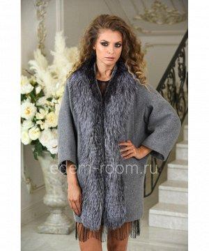 Пальто из шерсти альпаки отороченное мехом чернобурки. Осень - веснаАртикул: A-18563-75-SR-CH