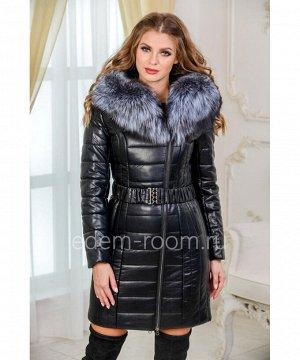 Пальто из экокожи с натуральным мехомАртикул: I-1861-90-2-CH