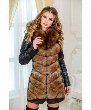 Куртка-жилет из экокожи и  меха песцаАртикул: EN-980-75-2-P-SB