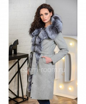 Зимняя парка -пальто с мехом чернобуркиАртикул: V-18220-100-2-SR-CH