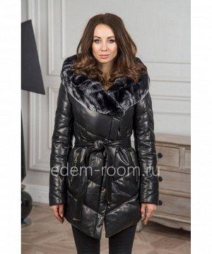 Зимняя кожаная куртка - пуховикАртикул: C-18197-2-75-KR