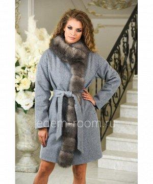 Осеннее пальто из шерсти с мехомАртикул: M-173028-90-SR-P