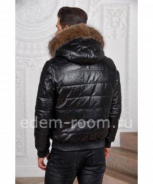 Зимняя мужская кожаная куртка - бомберАртикул: C-52798