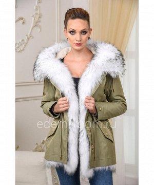 Укороченная парка - куртка с мехом енотаАртикул: V-1810-70-Z-EN