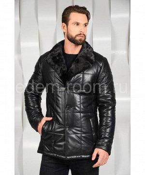 Мужская кожаная куртка с норковым воротникомАртикул: C-8209-N