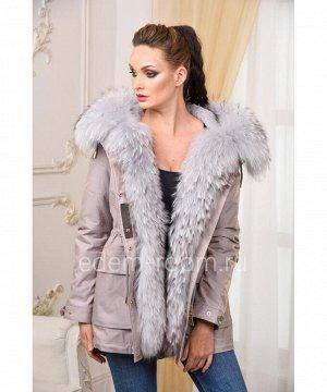 Современная куртка-парка с мехом енотаАртикул: V-1808-75-SR-EN
