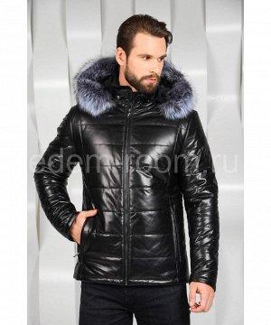 Мужская кожаная куртка с меховым капюшономАртикул: C-52320-CH