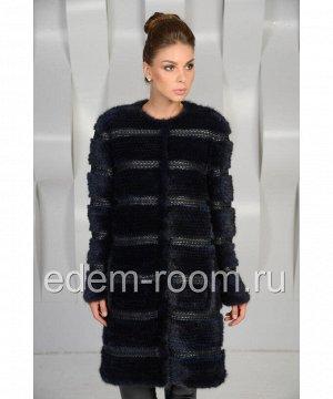 Чёрное норковое пальтоАртикул: R-7455-CH