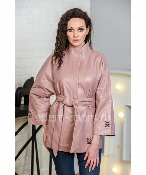 Женская кожаная куртка цвета пудры из натуральной кожиАртикул: AL-85-70-P