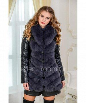 Женская куртка-жилет  из экокожи и натурального мехаАртикул: EN-980-75-2-P