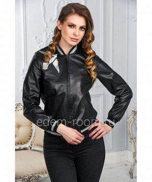 Чёрная кожаная куртка женская - на резинке. Натуральная кожаАртикул: AL-1777-CH