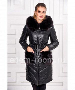 Пальто из эко-кожи с меховыми карманамиАртикул: RS-1791-CH-P