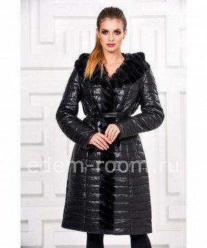Зимнее пальто из эко-кожи отороченное мехом норкиАртикул: I-178-CH-N