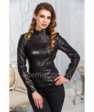 Классическая чёрная кожаная куртка для женщиныАртикул: LN-1807-CH
