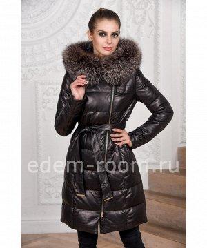 Кожаное пуховое пальтоАртикул: C-17172-CH-TR