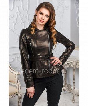 Женская кожаная куртка черного цвета, осенне - весенняяАртикул: A-8018-CH
