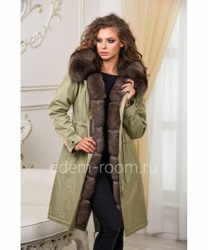 Парка - пальто с мехом песцаАртикул: V-1813-100-Z-P