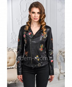 Женская кожаная куртка черного цвета с вышивкойАртикул: AL-2917-CH