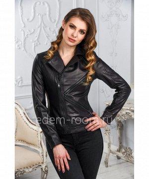 Женская кожаная куртка с отложным воротникомАртикул: LN-1805-CH