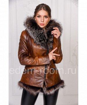 Куртка из эко-кожи и меха лисыАртикул: RS-212-K