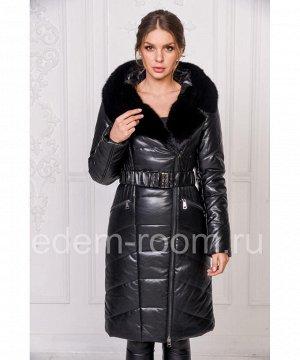 Зимнее пальто из эко-кожи с натуральным мехомАртикул: RS-1386-2-N
