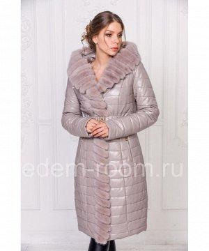 Зимнее пальто из искусственной кожиАртикул: RS-558-1-B-SR-N
