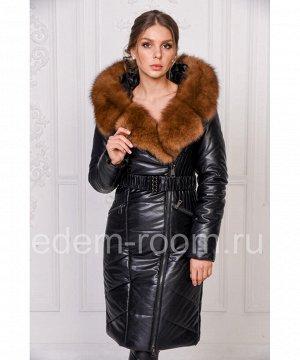 Женское пальто из экокожи с меховым капюшономАртикул: RS-1386-2-P