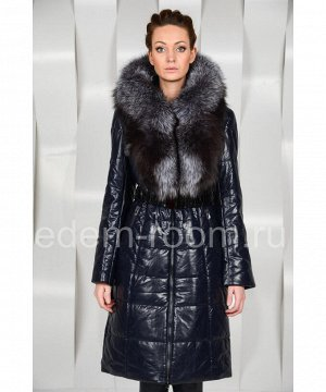 Чёрное пальто из экокожи с чернобуркойАртикул: EN-1648-CH