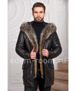 Кожаная куртка с мехом енотаАртикул: W-1818-2-90-CH-EN