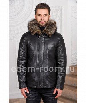 Кожаная куртка с меховым капюшономАртикул: C-3245-1-CH-EN