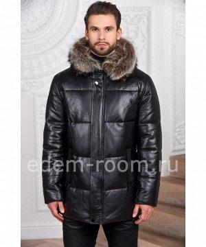Зимний мужской кожаный пуховикАртикул: C-16303-EN
