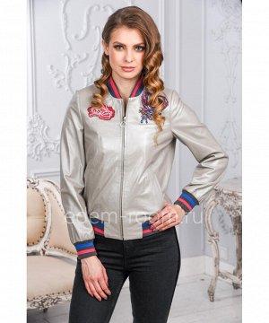 Женская куртка из натуральной кожи - бомбер белого цветаАртикул: AL-1773-S