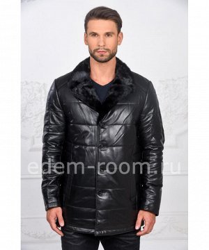 Мужская пуховая куртка из кожиАртикул: C-52792-N
